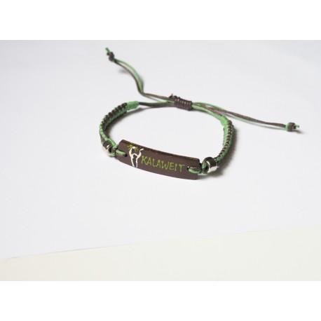 Bracelet Artisanal Rectangulaire - Marron Vert